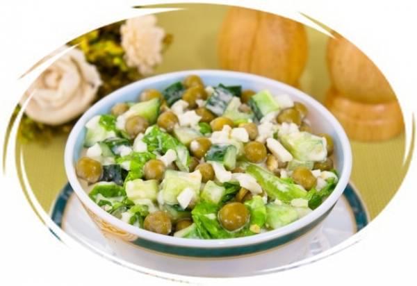 Салат с огурцом и зеленым горошком консервированным